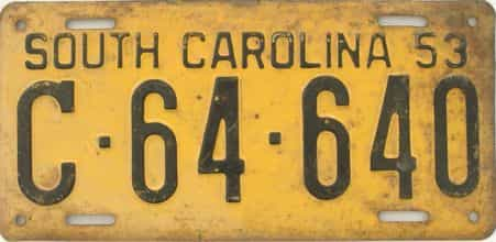 1953 South Carolina (Single) license plate for sale