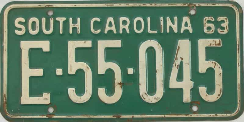 1963 SC license plate for sale