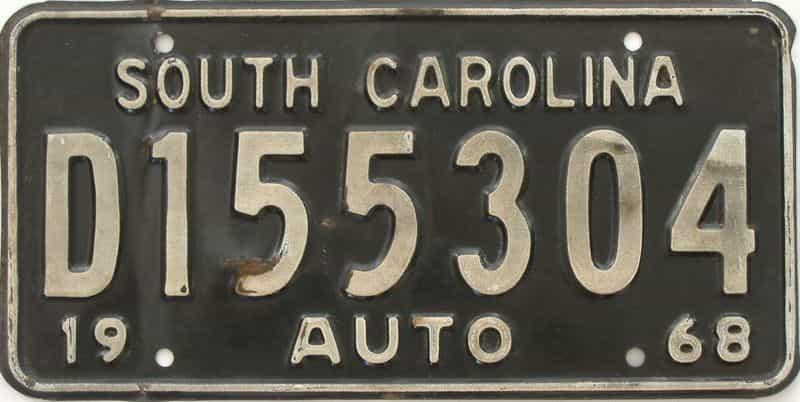 1968 South Carolina (Single) license plate for sale