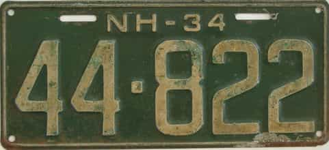 1934 New Hampshire (Single) license plate for sale