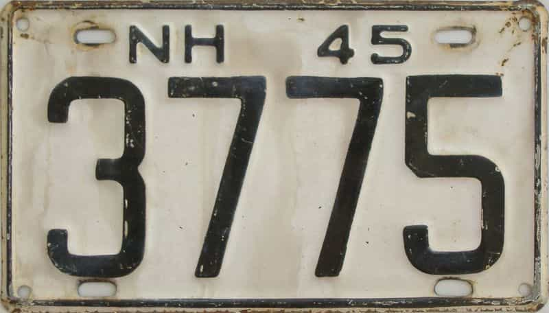 1945 New Hampshire license plate for sale