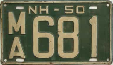 1950 New Hampshire  (Single) license plate for sale
