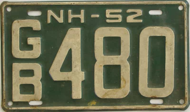 1952 NH (Single) license plate for sale