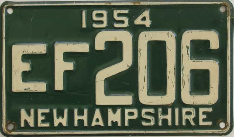 1954 New Hampshire (Single) license plate for sale