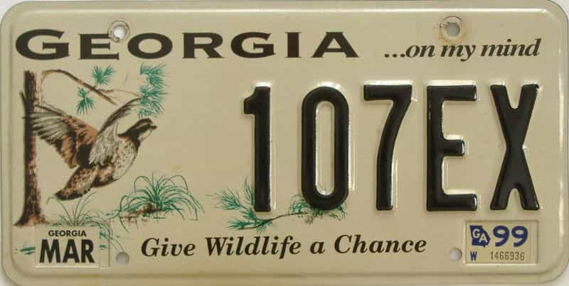 1999 GA license plate for sale