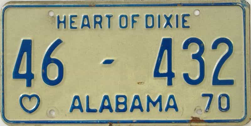 1970 Alabama license plate for sale