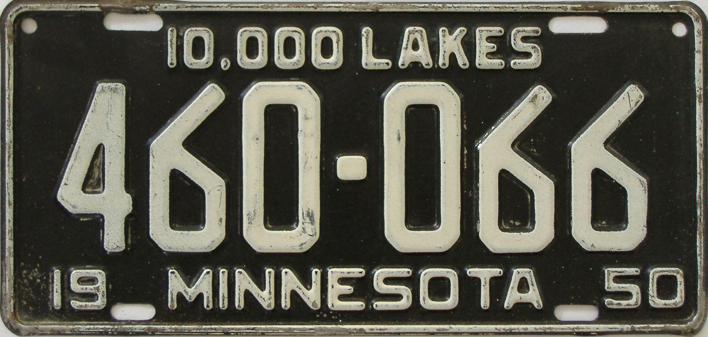1950 Minnesota (Single) license plate for sale