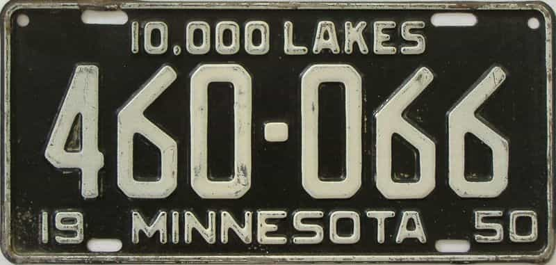 1950 MN (Single) license plate for sale