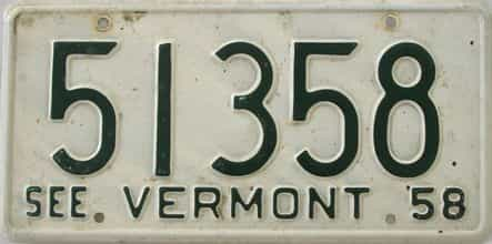 1958 Vermont  (Single) license plate for sale