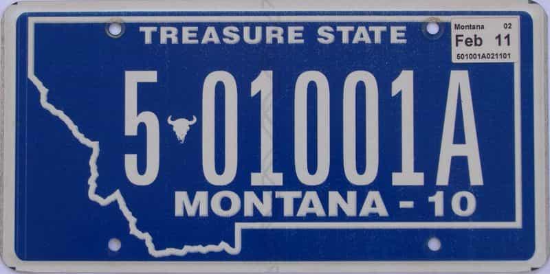 2011 Montana (Single) license plate for sale