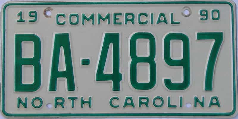1990 North Carolina  (Non Passenger) license plate for sale