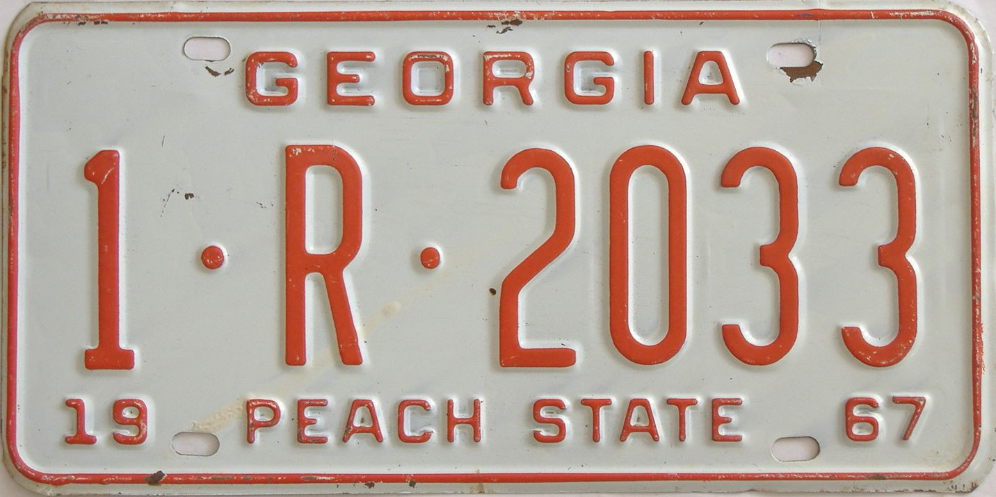 YOM 1967 Georgia (Truck) license plate for sale