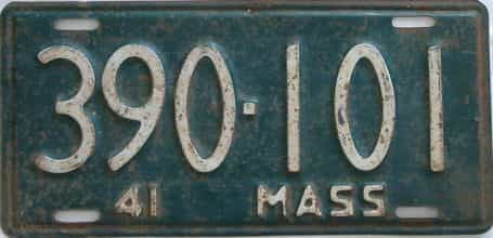 1941 Massachusetts (Single) license plate for sale