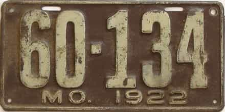 1922 Missouri (Single) license plate for sale