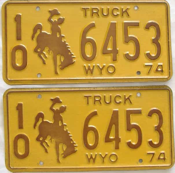 1974 WY (Truck) license plate for sale