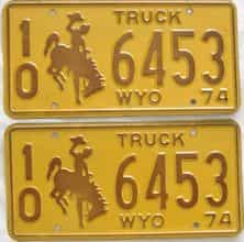 1974 Wyoming (Truck) license plate for sale