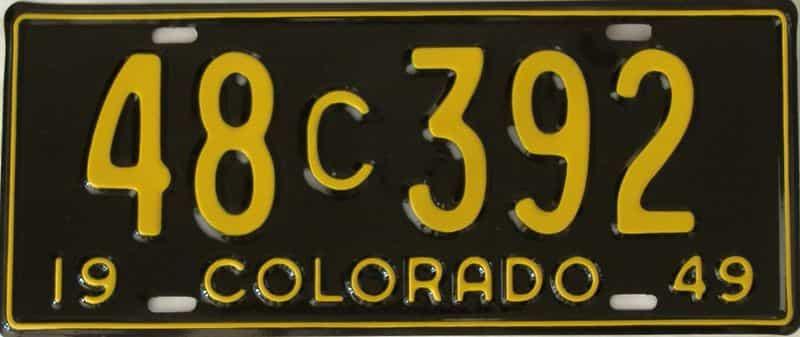 RESTORED 1949 Colorado  (Single) license plate for sale