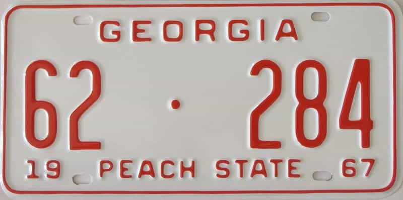 YOM RESTORED 1967 GA license plate for sale