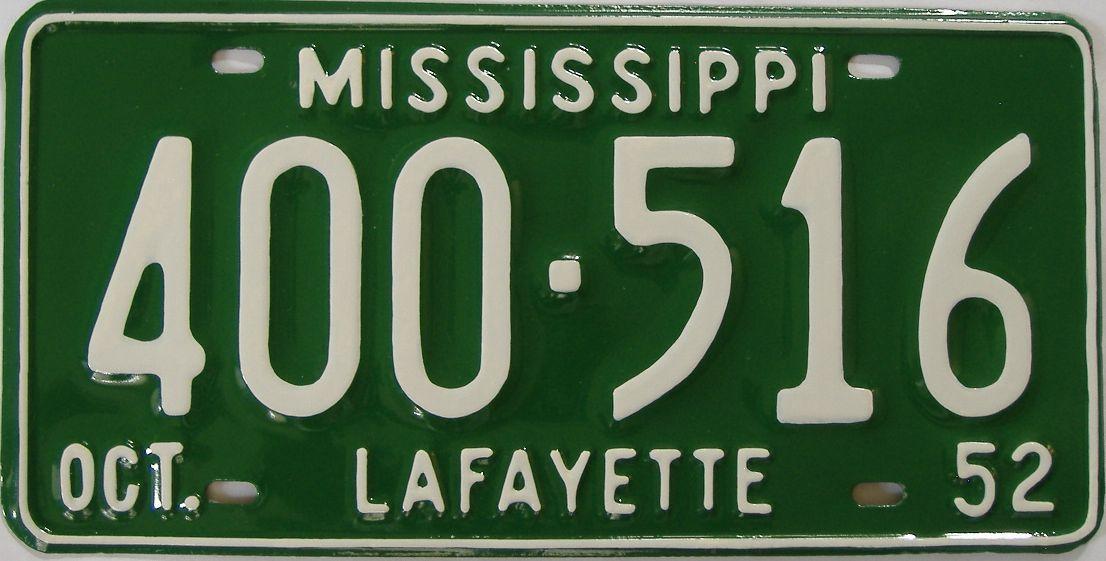 1952 Mississippi (Older Restoration) license plate for sale