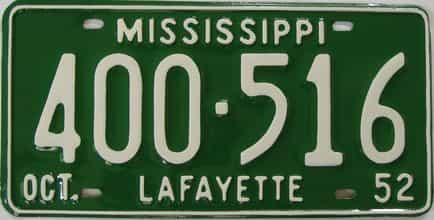 1952 Mississippi (Older Restoration) license plate for sale