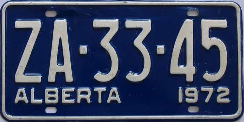 1972 Alberta (Single) license plate for sale