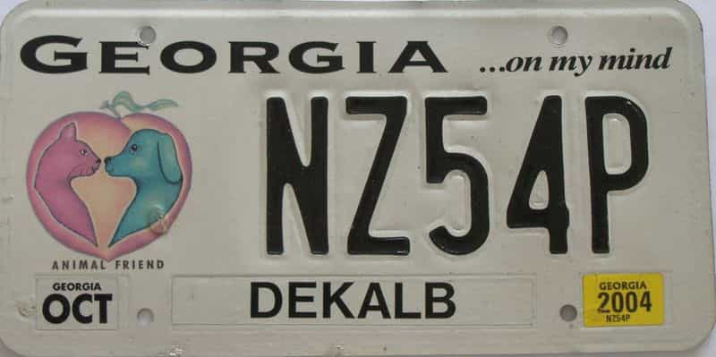 2004 GA (Natural) license plate for sale