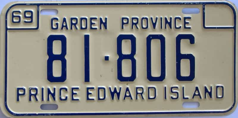 1969 PEI (Single) license plate for sale