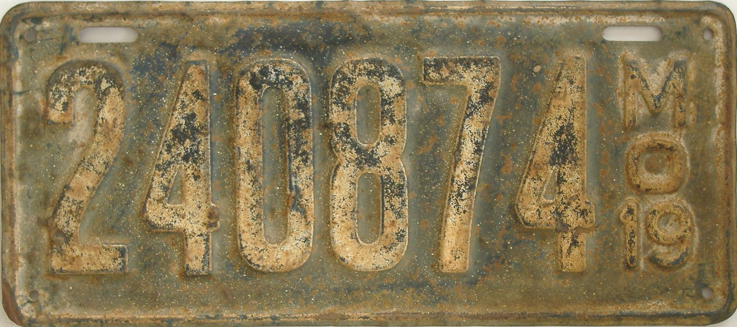 1919 Missouri (Single) license plate for sale