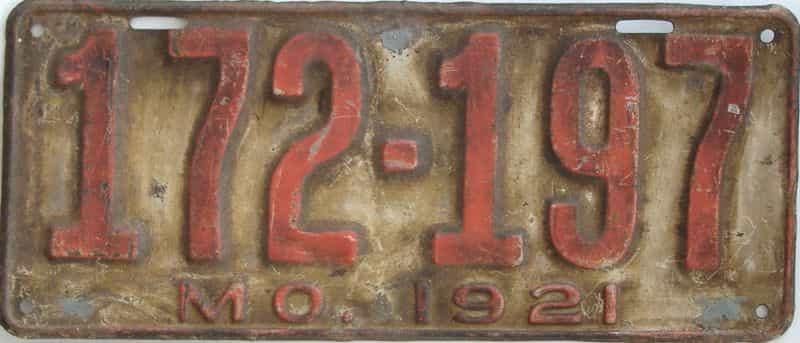 1921 Missouri (Single) license plate for sale