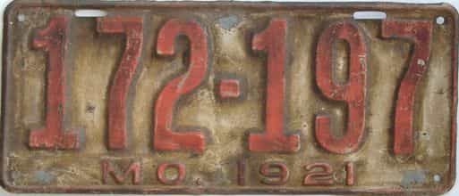 1921 Missouri (Single) license plate for sale