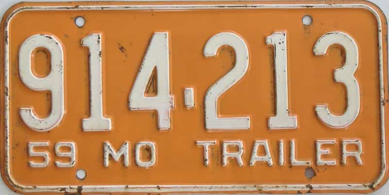 1959 MO (Trailer) license plate for sale