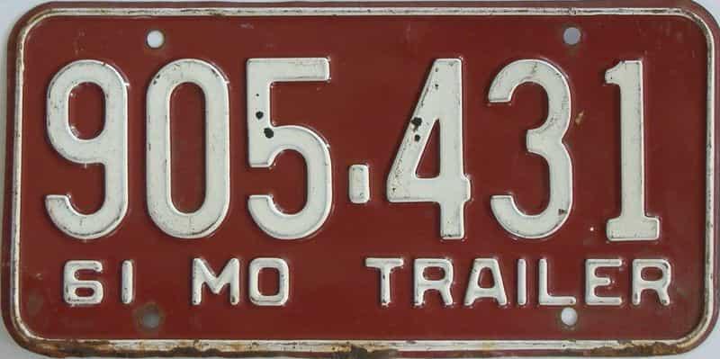 1961 Missouri (Trailer) license plate for sale