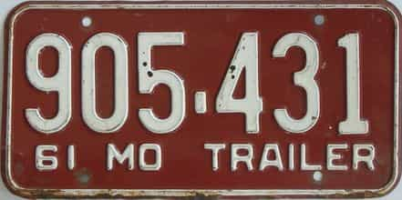 1961 Missouri  (Trailer) license plate for sale