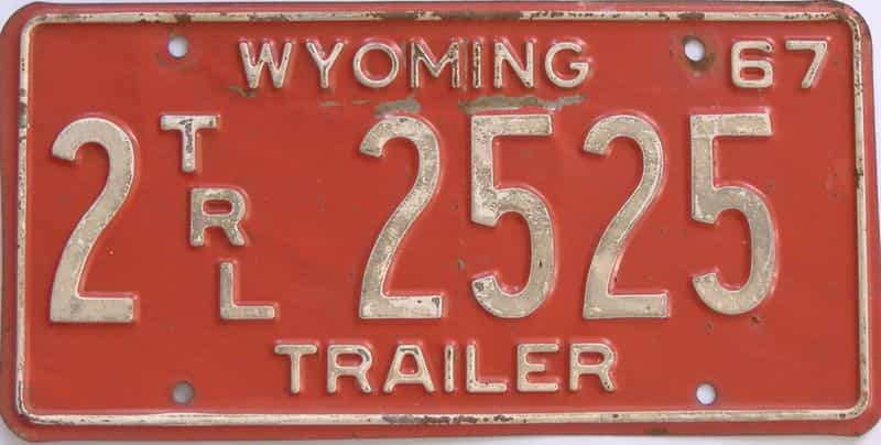 1967 WY (Trailer) license plate for sale