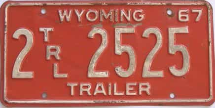 1967 Wyoming (Trailer) license plate for sale