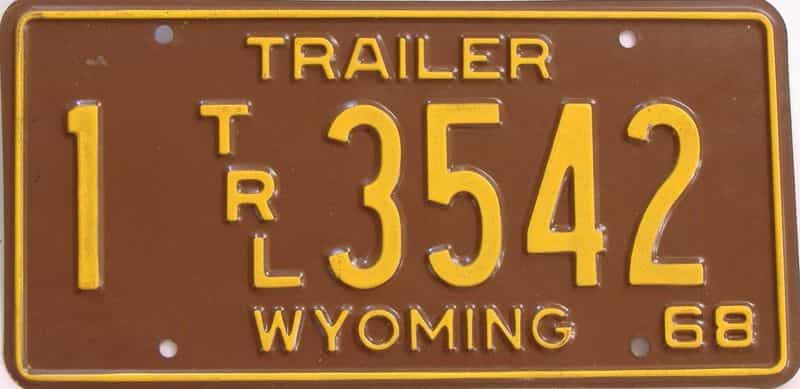 1968 WY (Trailer) license plate for sale