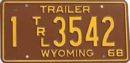 1968 Wyoming (Trailer) license plate for sale