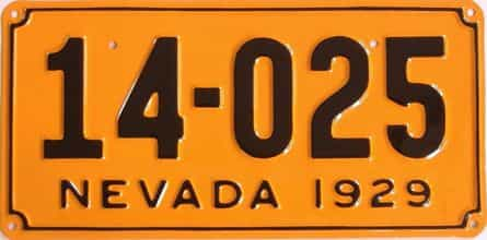RESTORED 1929 Nevada (Single) license plate for sale