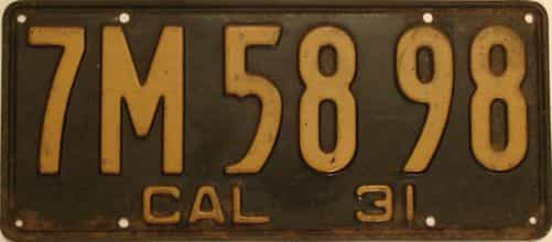 1931 California (Single) license plate for sale