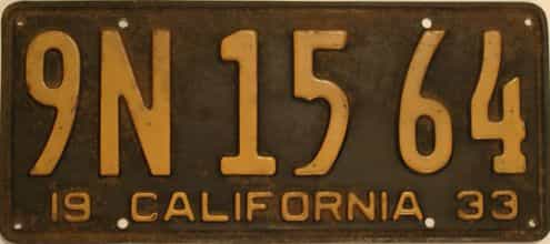 1933 California (Single) license plate for sale