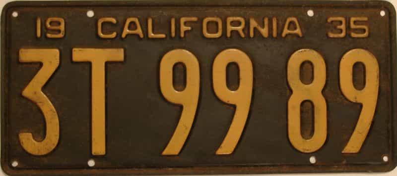 1935 California  (Single) license plate for sale