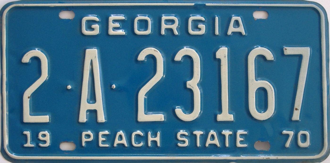 YOM 1970 Georgia license plate for sale