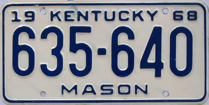 1968 KY license plate for sale