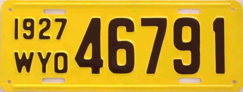 RESTORED 1927 WY (Single) license plate for sale