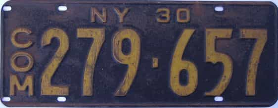 1930 New York  (Non Passenger) license plate for sale