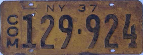1937 New York (Truck) license plate for sale