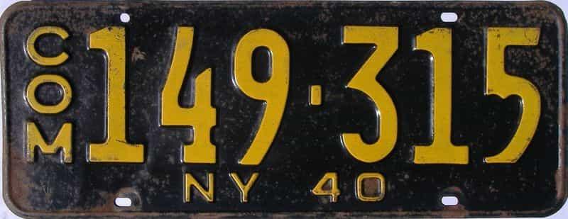 1940 New York  (Non Passenger) license plate for sale