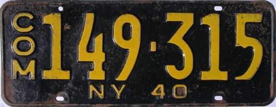 1940 New York  (Truck) license plate for sale