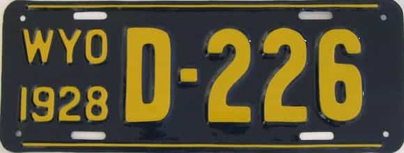 RESTORED 1928 Wyoming (Dealer) license plate for sale