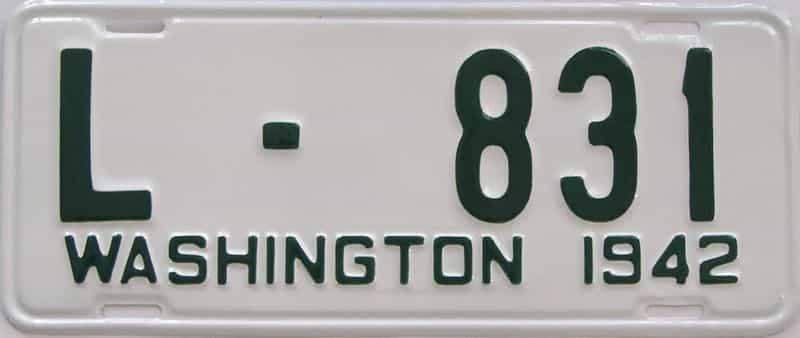RESTORED 1942 Washington (DMV NOT CLEAR) license plate for sale